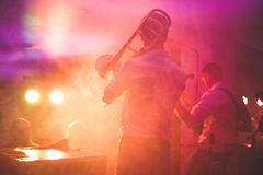 Band playing on stage royalty free stock images