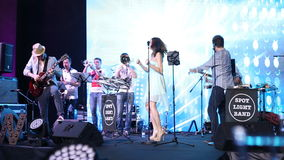 The band plays live on stage stock video footage