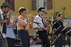A band that plays the soul. A group of musicians at the festival of Porretta Soul 2011 royalty free stock image