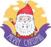 Band PrintCute för glad jul med Santa Claus Arkivbilder