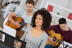 Band rehearsal before live performance. Band rehearsal before a live performance Royalty Free Stock Images