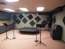 Band Rehearsal Space with Equipment stock photography