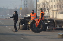 Band of rioters on improvised checkpoint check and marauding transport.Kiev Royalty Free Stock Photos