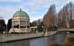 Band Rotunda, Christchurch New Zealand. The Christchurch Band Rotunda on the banks of the Avon river in the centre of Christchurch city in springtime Royalty Free Stock Photos