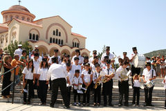 Band at Saint Gerasimos Day, Kefalonia, Greece. Stock Images
