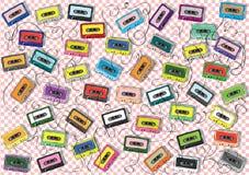 Band-Sammlung auf quadratischem Muster Stockbild