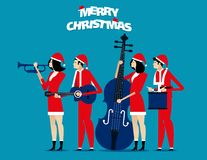 The Band. Santa team relax. Concept holiday vector illustration. stock illustration