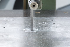Band saw machine blade on metal Royalty Free Stock Photography