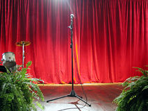 Band Scene. Empty scene with red curtain in the background Royalty Free Stock Photos