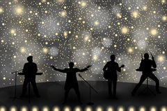 Band show concept with yellow light and stars. Set of silhouettes of musicians, singers and dancers Stock Photos