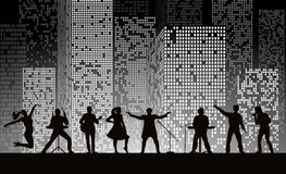 Band show on night city background at grey style. Festival concept. Set of silhouettes of musicians, singers and dancers. Vector illustration Stock Image