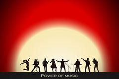 Band show on red sunset background. Festival concept. Set of silhouettes of musicians, singers and dancers. Vector illustration Stock Photo
