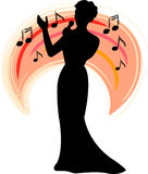 Band Singer/ai. Silhouette illustration of a female torch or big band singer...ai file available