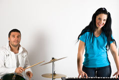 Band singing drums and organ Stock Photo