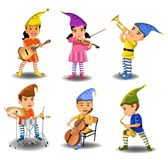 A band of children elves playing instruments. A band of six children elves playing instruments isolated on a white background Stock Photo