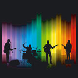 Band on stage. With colored background royalty free illustration