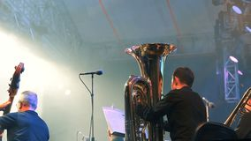 Band on the stage, tuba and double bass players stock video