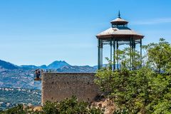 Band stand in Ronda Spain with mountains in the distance royalty free stock photo