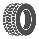 Band stevig pictogram Automobiele wiel vectordieillustratie op wit wordt geïsoleerd De stijlontwerp van de autoband glyph, dat vo vector illustratie