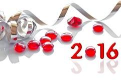 2016, Band- und Glasweihnachtsdekorationen Stockfoto