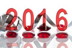 2016, Band- und Glasweihnachtsdekorationen Stockfotos