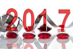 2017, Band- und Glasweihnachtsdekorationen Lizenzfreies Stockbild