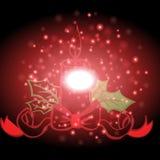 Band und Kerze mit Weihnachtshintergrund und Grußkartenvektor lizenzfreie abbildung
