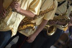 Band van saxofonisten stock afbeelding