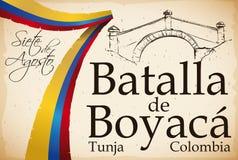 Band wie kolumbianische Flagge über Rolle mit Boyaca-` s Brücken-Design, Vektor-Illustration stock abbildung