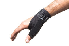 Bandaż dla kciuka na man& x27; s ręka - odizolowywa Obraz Royalty Free