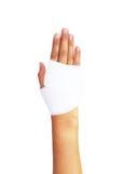 Bandażująca ręka na bielu, z ścinek ścieżką Zdjęcia Stock