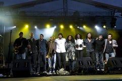 Banda britannica in incognito al festival di estate Fotografia Stock
