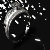 Banda d'argento di impegno con la gemma del diamante Disegno grafico Fotografia Stock