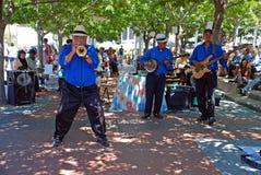 Banda de jazz africana de la calle, Ciudad del Cabo, Suráfrica Foto de archivo libre de regalías