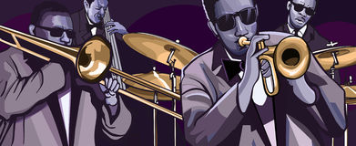 Banda de jazz con el bajo doble y el tambor de la trompeta del trombonne Imagenes de archivo