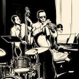 Banda de jazz con el piano y el tambor de la trompeta del doble-bajo Imágenes de archivo libres de regalías