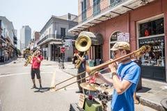 Banda de jazz en francés QuarterIn, New Orleans Fotografía de archivo libre de regalías
