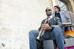 Banda de los músicos de los azules Foto de archivo libre de regalías