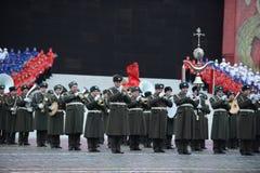 Banda de metales en el desfile el 7 de noviembre en el cuadrado rojo moscú Foto de archivo libre de regalías