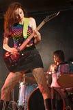 Banda de rock de la muchacha Foto de archivo libre de regalías