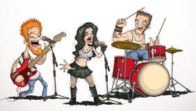 Banda de rock de tres músicos Foto de archivo