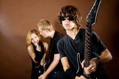 Banda de rock en estudio Imágenes de archivo libres de regalías