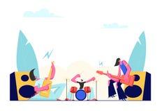 Banda de rock que se realiza en etapa Guitarristas y bater?a el?ctricos Music Concert Artistas de sexo masculino que juegan una g ilustración del vector