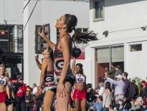 Banda del fútbol de Georgia en Rose Parade famosa Foto de archivo libre de regalías