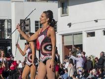 Banda del fútbol de Georgia en Rose Parade famosa Foto de archivo