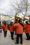 Banda del musicista durante il carnevale di Limoux Immagine Stock