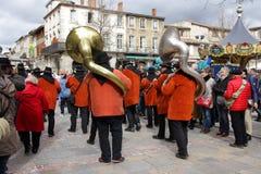 Banda del musicista durante il carnevale di Limoux Fotografie Stock Libere da Diritti