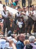 Banda del tubo del distrito en el festival Rozhen 2015 de la etapa en Bulgaria Fotografía de archivo libre de regalías