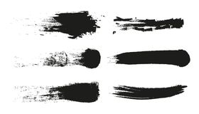 Banda della pittura di lerciume Colpo della spazzola di vettore Insegna afflitta Raccolta del pennello isolata il nero Forma stru illustrazione vettoriale