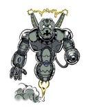 Banda desenhada blindada robô ilustrado da sentinela do caráter Foto de Stock